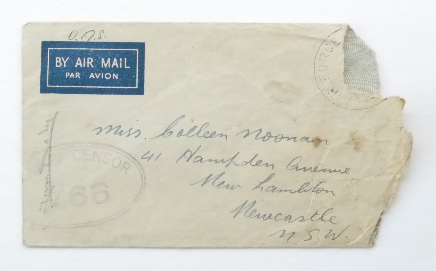 Envelope kept for 71 years by Colleen Nancarrow (nee Noonan).  Envelope and letter may not correspond. Note wartime RAAF censor's stamp, number (766) and signature (Jim Daly). Postage stamp has been removed.