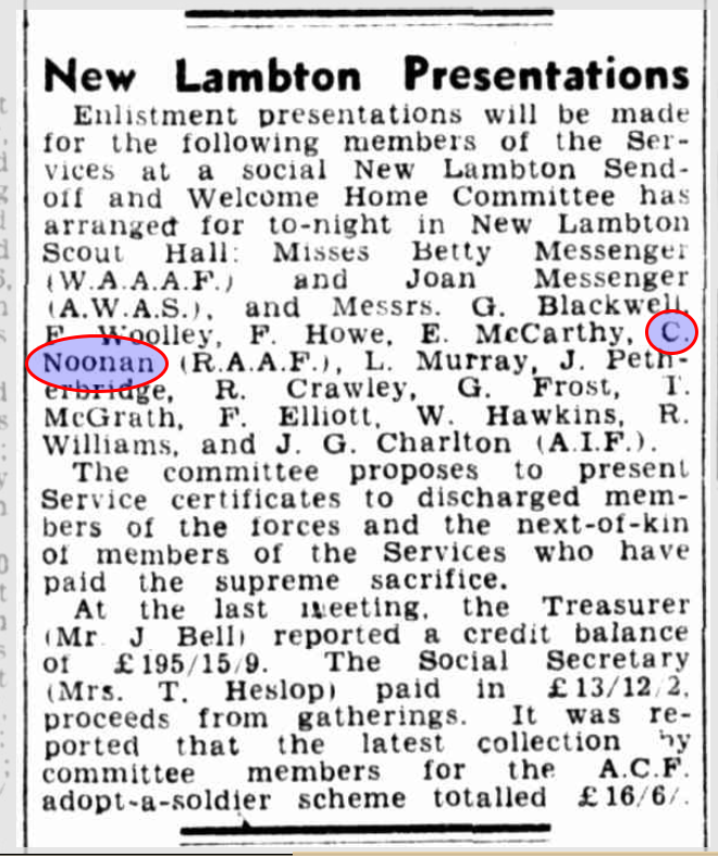 Article from the Newcastle Morning Herald and Miners Advocate, Tuesday 1 February 1944.