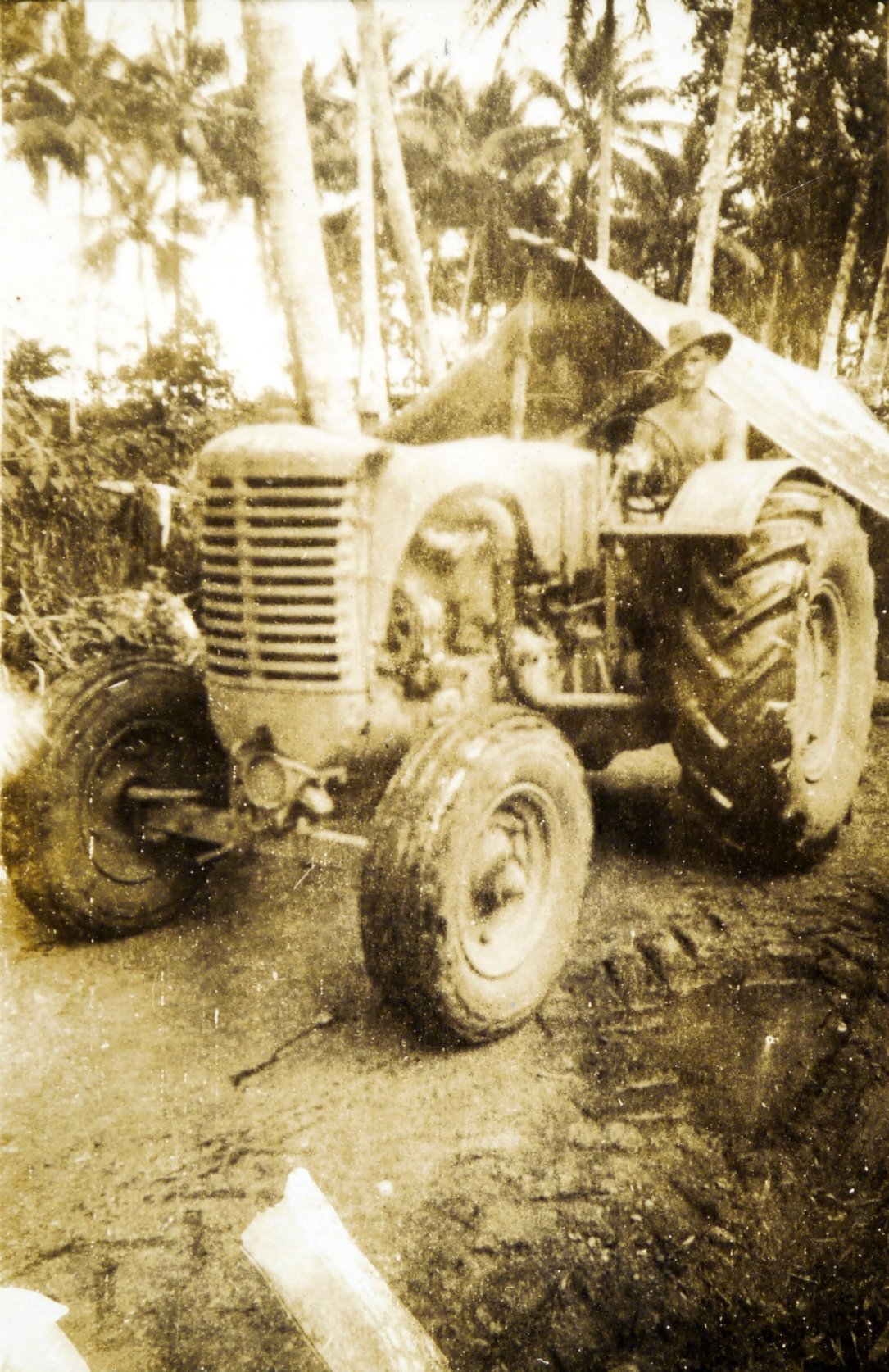 Tractor in an unknown South Pacific location during WW2.