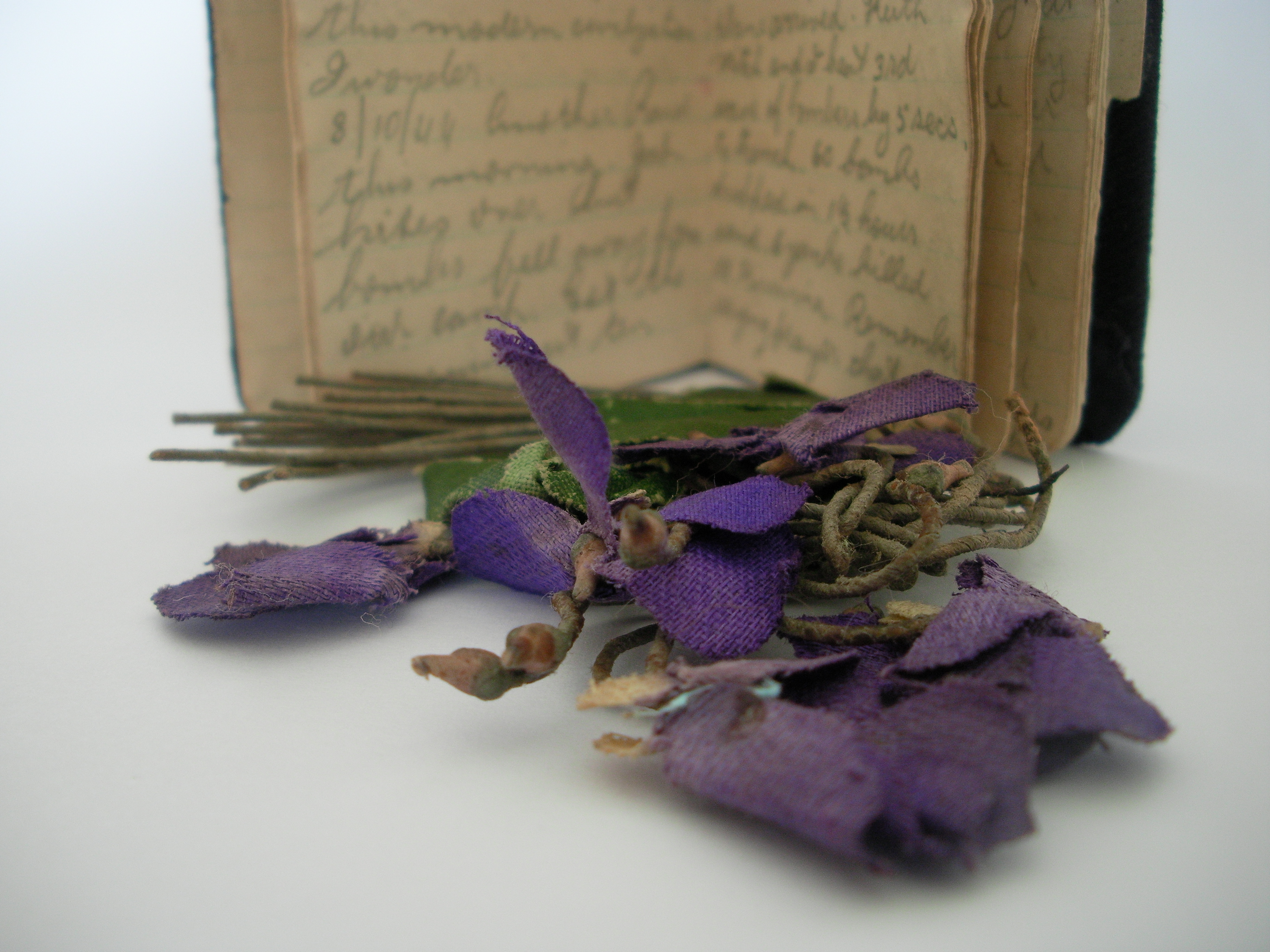 Shirley Shade (later my grandmother Noonan) wore these artificial violets on her first 'date' with Clem. Clem later took them to war and as of 2014 they have been inseparable from his diary for 72 years. Based on the central fold and other witness marks on the Fitter IIA course group photo seen in the page header atop, I believe Clem kept the violets, his diary and that group photo close when he was abroad. Photo 2014 by Leonie (nee Noonan) and Shane Dunn.