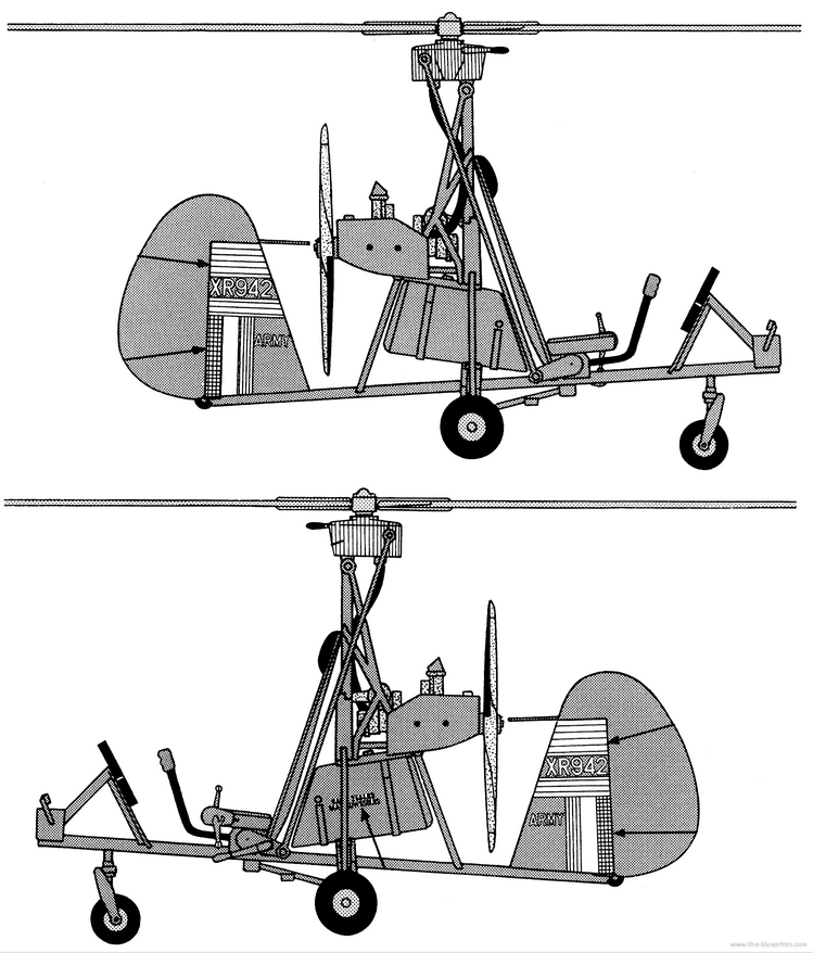 General arrangement of the Wallis Wa 116 military autogyro from www.the-blueprints.com.