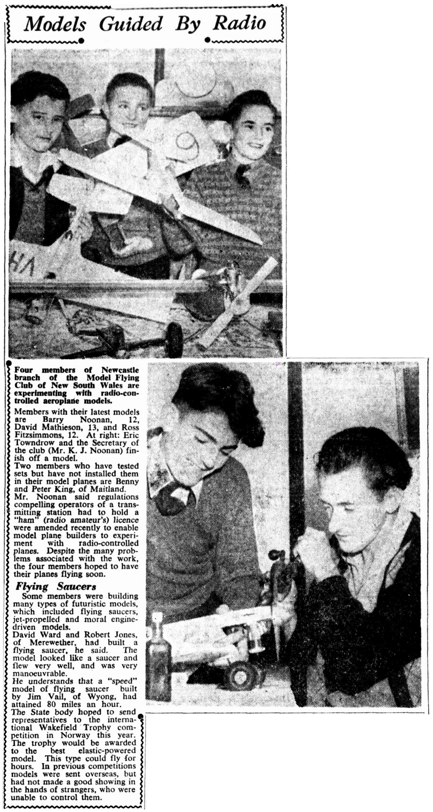Model aviators Barry and Kevin Noonan featured on Page 4 of the Newcastle Morning Herald and Miners' Advocate, Wednesday, 28 June, 1950. Trove Article found by Leonie Dunn.
