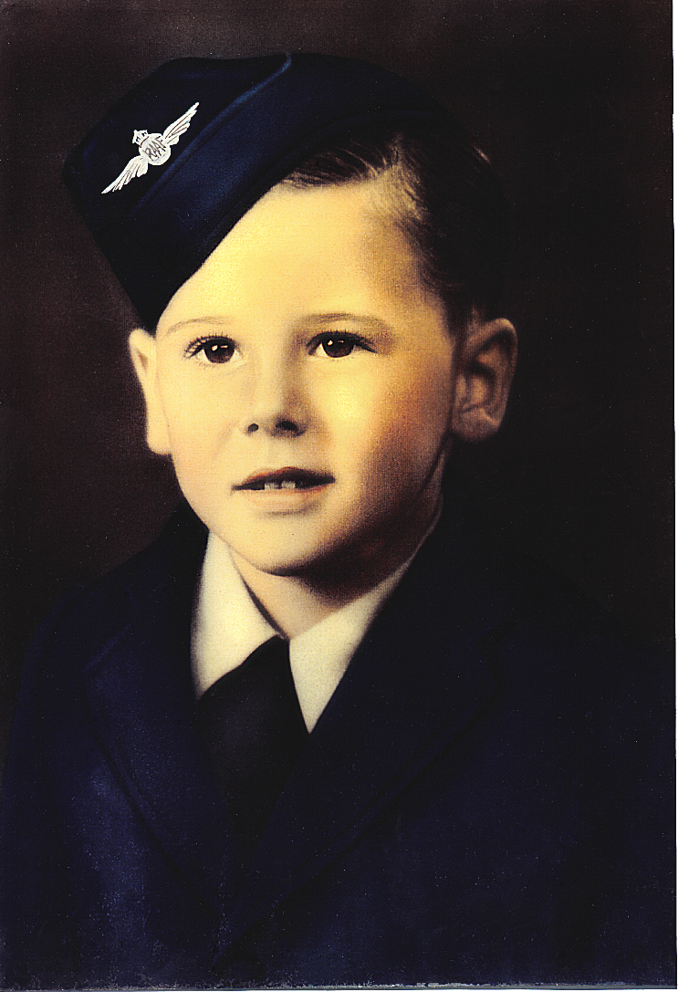 Restored hand coloured portrait of Barry Noonan aged five (c.1943).