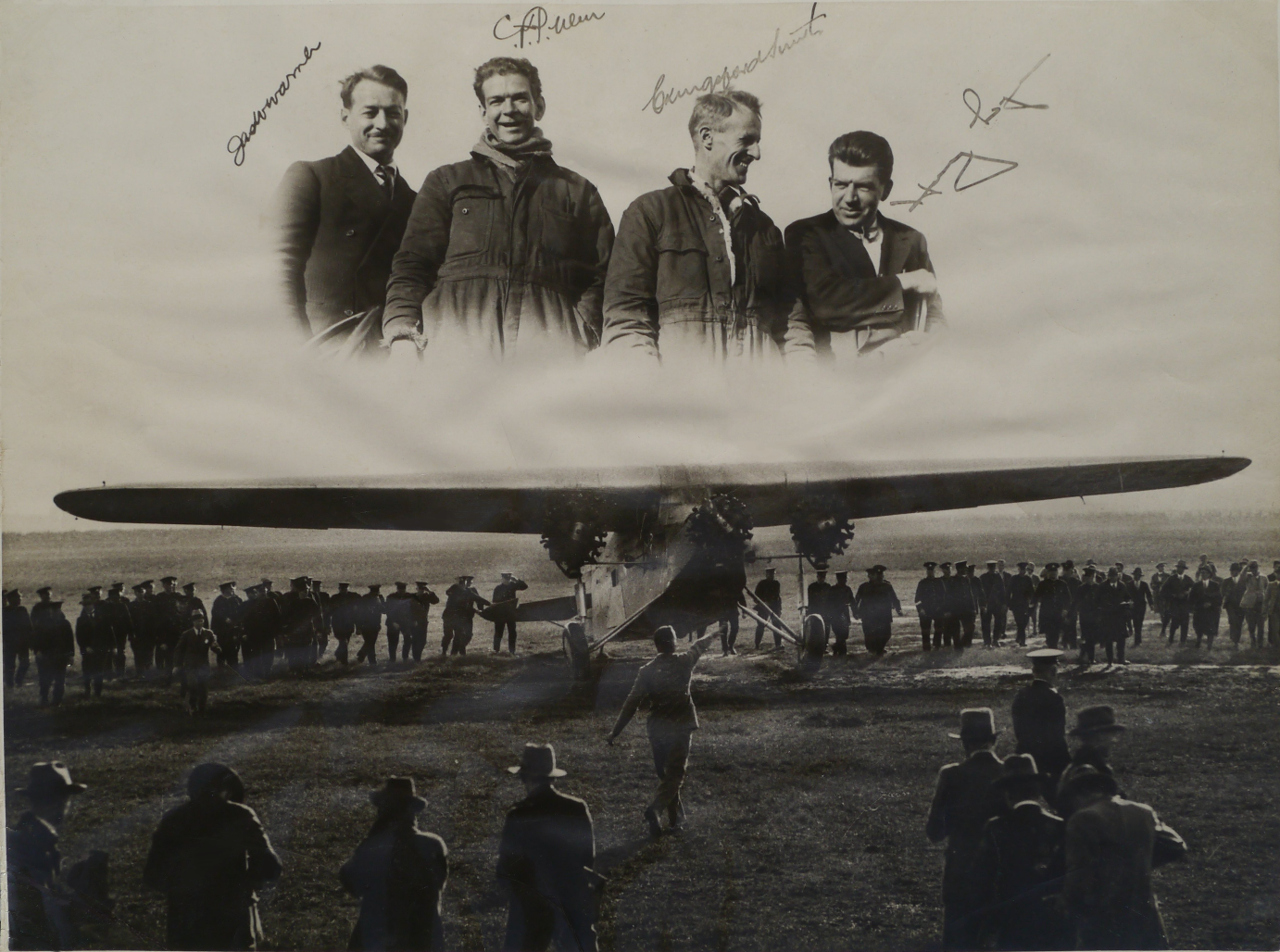 Popular composite photo commemorating the crew of the Southern Cross after touching down from the first ever Trans-Pacific flight, Eagle Farm Brisbane, 9 June 1928.