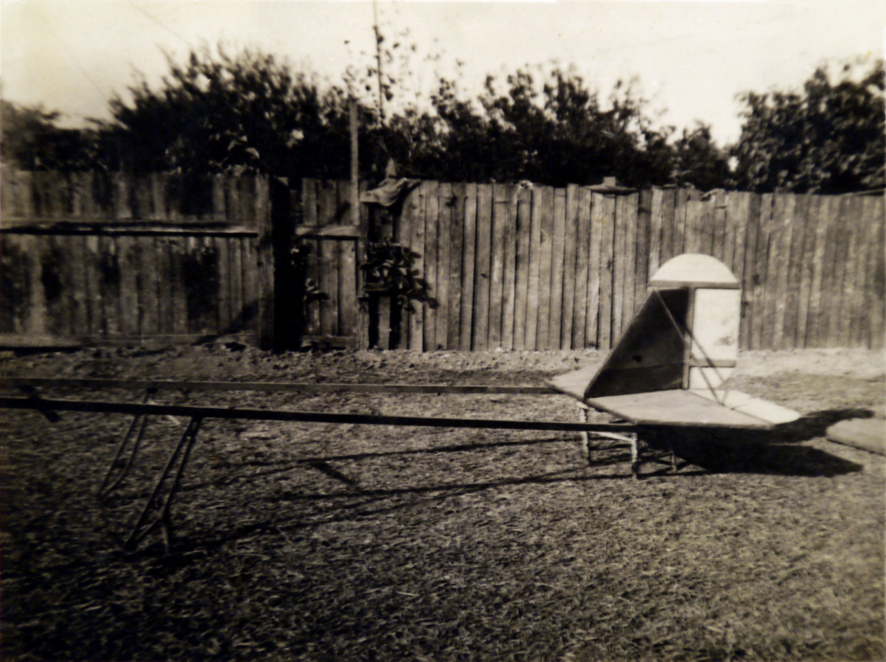 The tail of the glider sitting on a jig in the backyard at Kings Rd New Lambton.