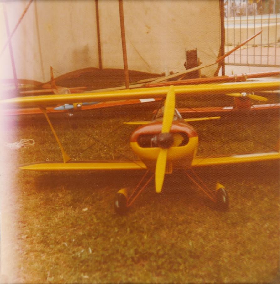 Model biplane at Rutherford, NSW (?), September 1977