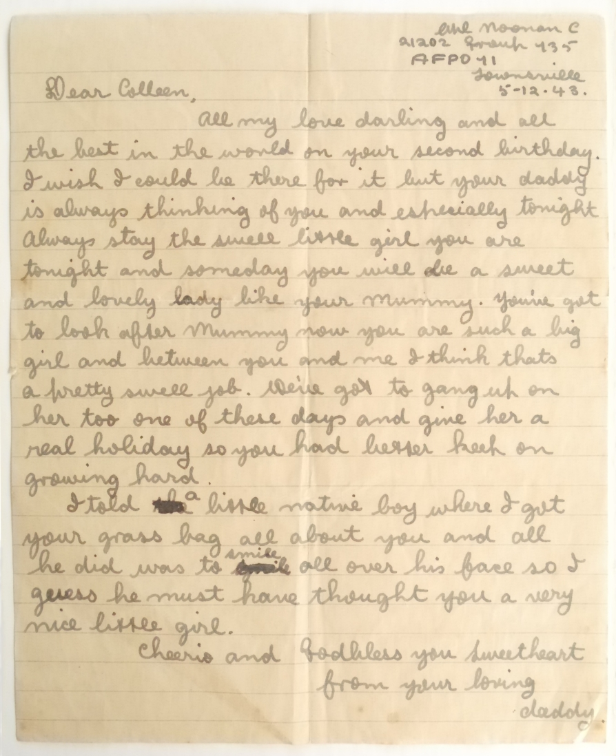 The first of three letters from Clem to his only child (at the time) Colleen known to have survived. This example penned on Goodenough Island.