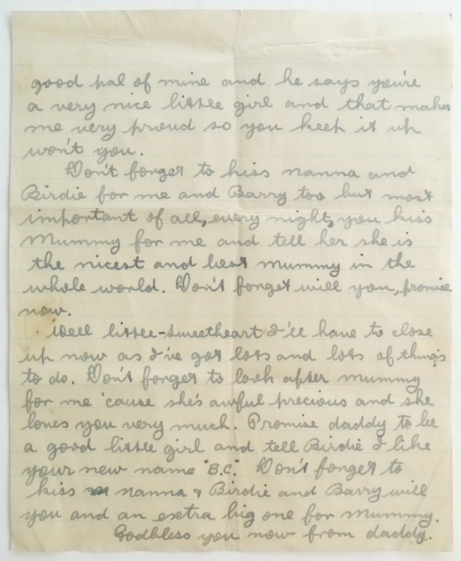 Second letter known to have been written from Clem to his daughter Colleen during WW2. Page 2 of 2