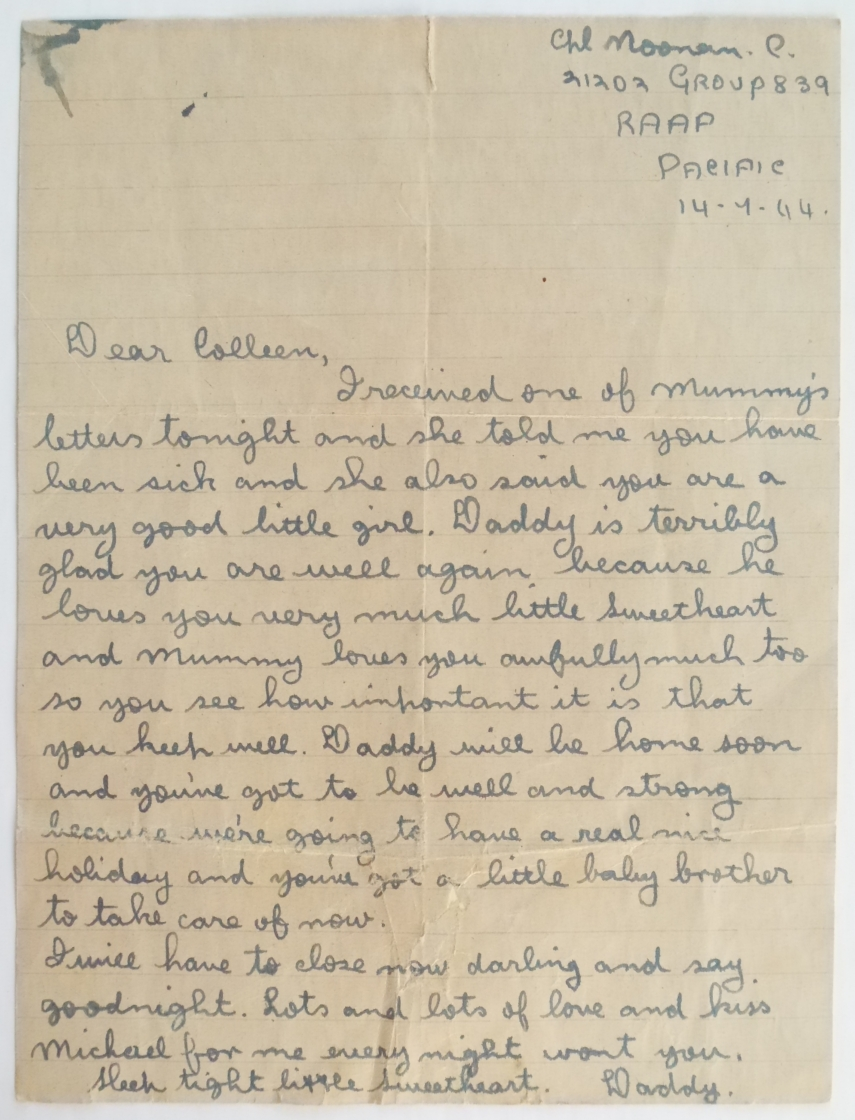 Third and last letter known to have been written from Clem to his daughter Colleen during WW2.